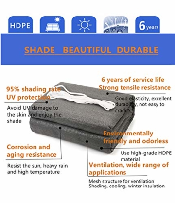 Sekey Sonnensegel Sonnenschutz Rechteckiges HDPE Durchlässig Atmungsaktiv Tear Resistant Wetterschutz UV-Schutz, für Outdoor Garten Terrasse, mit Seilen, 2×3m Anthrazit - 6