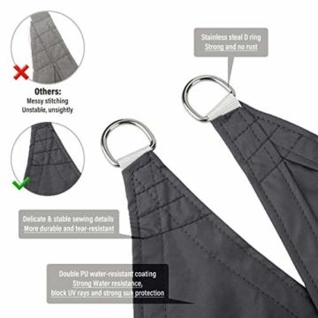 Sekey Sonnensegel Sonnenschutz Rechteckiges Polyester Windschutz Wetterschutz Wasserabweisend Imprägniert UV Schutz, Überlegene Reißfestigkeit mit Seilen undBefestigungsKit, Anthrazit 3×5m - 3