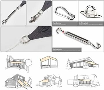 Sekey Sonnensegel Sonnenschutz Rechteckiges Polyester Windschutz Wetterschutz Wasserabweisend Imprägniert UV Schutz, Überlegene Reißfestigkeit mit Seilen undBefestigungsKit, Anthrazit 3×5m - 4