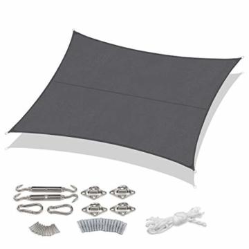 Sekey Sonnensegel Sonnenschutz Rechteckiges Polyester Windschutz Wetterschutz Wasserabweisend Imprägniert UV Schutz, Überlegene Reißfestigkeit mit Seilen undBefestigungsKit, Anthrazit 3×5m - 1