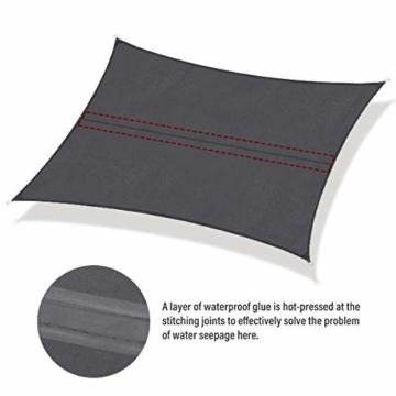 Sekey Sonnensegel Sonnenschutz Rechteckiges Polyester Windschutz Wetterschutz Wasserabweisend Imprägniert UV Schutz, Überlegene Reißfestigkeit mit Seilen undBefestigungsKit, Anthrazit 3×5m - 5