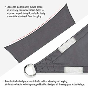 Sekey Sonnensegel Sonnenschutz Rechteckiges Polyester Windschutz Wetterschutz Wasserabweisend Imprägniert UV Schutz, Überlegene Reißfestigkeit mit Seilen undBefestigungsKit, Anthrazit 3×5m - 6