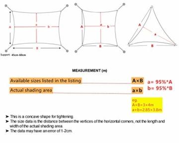 Sekey Sonnensegel Sonnenschutz Rechteckiges Polyester Windschutz Wetterschutz Wasserabweisend Imprägniert UV Schutz, Überlegene Reißfestigkeit mit Seilen undBefestigungsKit, Anthrazit 3×5m - 7