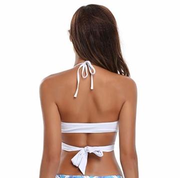 SHEKINI Damen Bademode Rückenfrei Verstellbar Crossover Ties-up Bikinioberteil Push up Triangel Strandkleidung (S, Bikini Top-Weiß) - 2