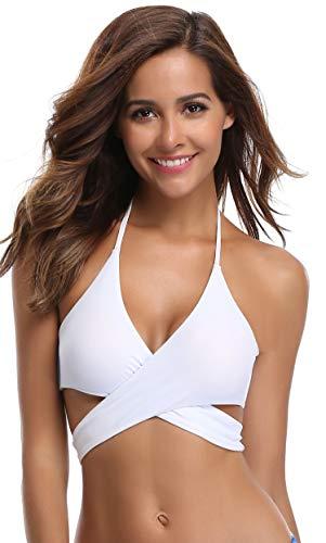 SHEKINI Damen Bademode Rückenfrei Verstellbar Crossover Ties-up Bikinioberteil Push up Triangel Strandkleidung (S, Bikini Top-Weiß) - 3