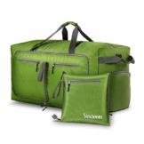 Simboom Faltbare Reisetasche für Männer und Frauen, 100L Wasserdicht Reise-Gepäck Sporttasche Leichter Duffel Taschen mit schuhfach für Gepäck Reise Sport Gym Urlaub, Grün - 1