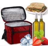 Sinwind Kühltasche Faltbar, Picknicktasche Kühltasche Thermotasche Klein Lsoliertasche Lunch Kühltasche Eistasche Lunch Tasche Kühlbox 10L für Picknick (rot) - 1