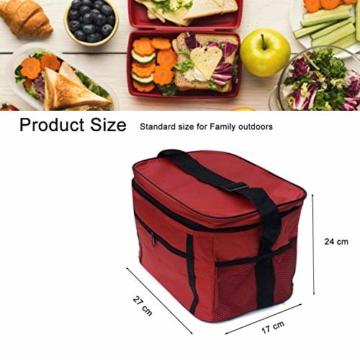 Sinwind Kühltasche Faltbar, Picknicktasche Kühltasche Thermotasche Klein Lsoliertasche Lunch Kühltasche Eistasche Lunch Tasche Kühlbox 10L für Picknick (rot) - 3