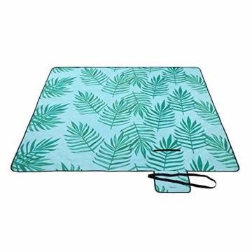SONGMICS Picknickdecke, 200 x 200 cm große Stranddecke, Campingdecke, wasserdichte Unterseite, maschinenwaschbar, faltbar, für Garten, Park, Strand, Camping, blau mit tropischem Farn GCM087Q01 - 1