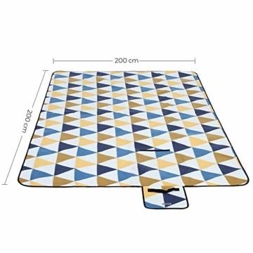 SONGMICS Picknickdecke, 200 x 200 cm, Stranddecke, für Outdoor, Camping, Park, Garten, wasserfeste Unterseite, faltbar, gelbe und Blaue Dreiecke GCM76S - 4