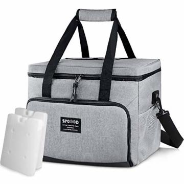 SPGOOD 20L Kühltasche Thermotasche Picknicktasche Lunchtasche Isolierte Tasche Cooler Bag Mittagessen Klein Kühlbox mit Kühlakkus für Lebensmitteltransport Erwachsene Kinder Arbeit Picknick - 1