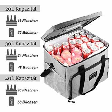 SPGOOD 20L Kühltasche Thermotasche Picknicktasche Lunchtasche Isolierte Tasche Cooler Bag Mittagessen Klein Kühlbox mit Kühlakkus für Lebensmitteltransport Erwachsene Kinder Arbeit Picknick - 5