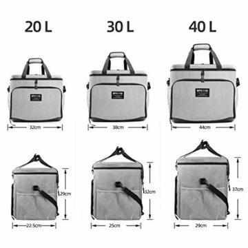 SPGOOD 20L Kühltasche Thermotasche Picknicktasche Lunchtasche Isolierte Tasche Cooler Bag Mittagessen Klein Kühlbox mit Kühlakkus für Lebensmitteltransport Erwachsene Kinder Arbeit Picknick - 6