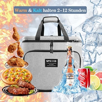 SPGOOD 20L Kühltasche Thermotasche Picknicktasche Lunchtasche Isolierte Tasche Cooler Bag Mittagessen Klein Kühlbox mit Kühlakkus für Lebensmitteltransport Erwachsene Kinder Arbeit Picknick - 7