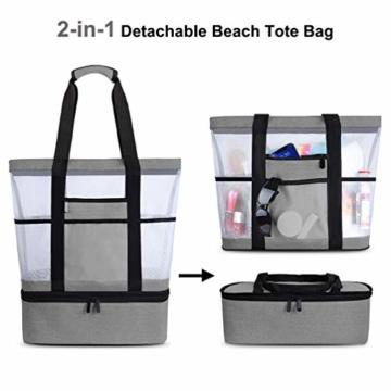 Strandtasche Groß Mesh Beachbag mit Wasserdichtem Kühlfach Hoch Kapazität Reißverschluss Sommer Tasche 41 * 15 * 51cm Beachbag Urlaubstasche für Strand Urlaub Reise Picknick - 4