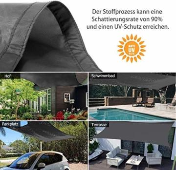 Sunnest Life Sonnensegel Sonnenschutz Garten Balkon inkl. Befestigungsseilen Wetterschutz wasserabweisend Schattenspender 420D PES Polyester UV Schutz für Garten Outdoor,2 * 3m,grau - 4