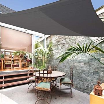 Sunnest Life Sonnensegel Sonnenschutz Garten Balkon inkl. Befestigungsseilen Wetterschutz wasserabweisend Schattenspender 420D PES Polyester UV Schutz für Garten Outdoor,2 * 3m,grau - 7