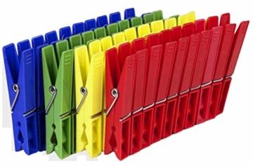 Tegra egra SILUK_ 50 x Wäscheklammern Klammern Wäscheklammer Kunststoff farbig (50 STK) - 4