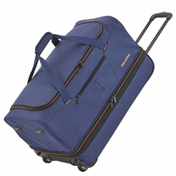 travelite 2-Rad Trolley Reisetasche Gr. S mit Dehnfalte, Gepäck Serie BASICS: Weichgepäck Reisetasche mit Rollen mit extra viel Volumen, 096275-20, 55 cm, 51 Liter (erweiterbar auf 64 Liter), marine - 2
