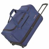 travelite 2-Rad Trolley Reisetasche Gr. S mit Dehnfalte, Gepäck Serie BASICS: Weichgepäck Reisetasche mit Rollen mit extra viel Volumen, 096275-20, 55 cm, 51 Liter (erweiterbar auf 64 Liter), marine - 1
