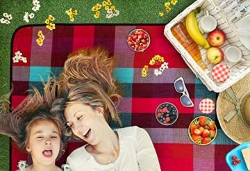 TRESKO XXL 195 x 150 cm Picknickdecke Acryl Wasserdicht | Campingdecke für Outdoor mit Tragegriff | Wärmeisoliert & Weich PNDKE26 - 2