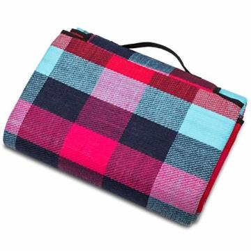 TRESKO XXL 195 x 150 cm Picknickdecke Acryl Wasserdicht | Campingdecke für Outdoor mit Tragegriff | Wärmeisoliert & Weich PNDKE26 - 3