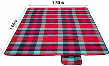 TRESKO XXL 195 x 150 cm Picknickdecke Acryl Wasserdicht | Campingdecke für Outdoor mit Tragegriff | Wärmeisoliert & Weich PNDKE26 - 4