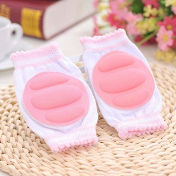 Vektenxi Knieschützer Ellbogenschützer Krabbelpolster Armpolster Unisex Knieschützer Krabbeln Schutzfolie für Kleinkind Baby Pink - 3