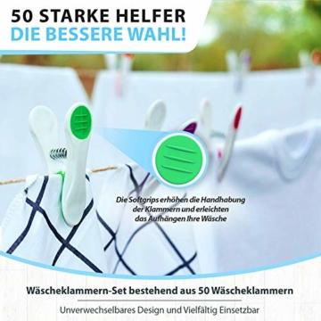 Vilenia Home Wäscheklammern Softgrip - 50 Stück Premium Klammern aus Kunststoff - Optimal für den Wäscheständer und Klammerbeutel - Wäscheklammer - 6