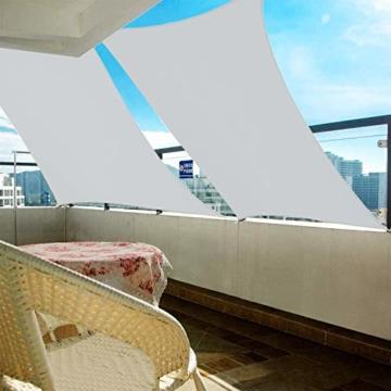 Wokkol Sonnensegel, Sonnenschutz Sonnensegel Wasserdicht, Sonnenschutz Balkon Hergestellt aus Hochwertigem Polyester mit UV Schutz, 160 g/m2 für Garten/Balkon/Terrasse (2M*3M) - 3