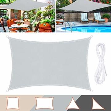 Wokkol Sonnensegel, Sonnenschutz Sonnensegel Wasserdicht, Sonnenschutz Balkon Hergestellt aus Hochwertigem Polyester mit UV Schutz, 160 g/m2 für Garten/Balkon/Terrasse (2M*3M) - 1