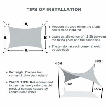 Wokkol Sonnensegel, Sonnenschutz Sonnensegel Wasserdicht, Sonnenschutz Balkon Hergestellt aus Hochwertigem Polyester mit UV Schutz, 160 g/m2 für Garten/Balkon/Terrasse (2M*3M) - 5