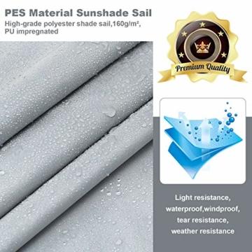 Wokkol Sonnensegel, Sonnenschutz Sonnensegel Wasserdicht, Sonnenschutz Balkon Hergestellt aus Hochwertigem Polyester mit UV Schutz, 160 g/m2 für Garten/Balkon/Terrasse (2M*3M) - 6