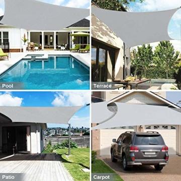 Wokkol Sonnensegel, Sonnenschutz Sonnensegel Wasserdicht, Sonnenschutz Balkon Hergestellt aus Hochwertigem Polyester mit UV Schutz, 160 g/m2 für Garten/Balkon/Terrasse (2M*3M) - 7