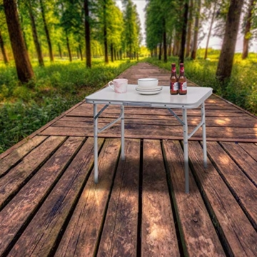 WOLTU Campingtisch Klapptisch Alu Gartentisch Arbeitstisch Balkontisch Reisetisch,75x55x25,5-58,5cm, Tischplatte aus MDF CPT8131ws - 2