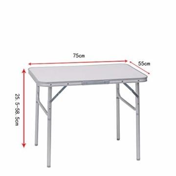 WOLTU Campingtisch Klapptisch Alu Gartentisch Arbeitstisch Balkontisch Reisetisch,75x55x25,5-58,5cm, Tischplatte aus MDF CPT8131ws - 7
