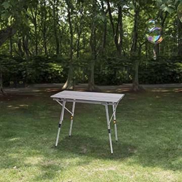 WOLTU Campingtisch Klapptisch aus Alu Gartentisch Balkontisch Reisetisch zusammenklappbar, mit Packtasche, Höhenverstellbar, 90x52.2X(45-72) cm, CPT8129sb - 2