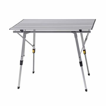 WOLTU Campingtisch Klapptisch aus Alu Gartentisch Balkontisch Reisetisch zusammenklappbar, mit Packtasche, Höhenverstellbar, 90x52.2X(45-72) cm, CPT8129sb - 1