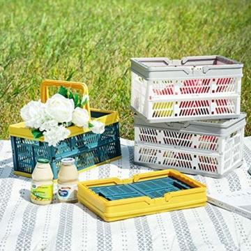 Yiyu Picknickkörbe Einkaufskörbe Obstkorb Aufbewahrungskorb Aus Kunststoff, Tragbarer Klappkorb, Einkaufskorb, Gemüsekorb, Klappbarer Einkaufskorb Camping Outdoor z (Color : Gray) - 2