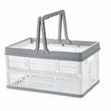 Yiyu Picknickkörbe Einkaufskörbe Obstkorb Aufbewahrungskorb Aus Kunststoff, Tragbarer Klappkorb, Einkaufskorb, Gemüsekorb, Klappbarer Einkaufskorb Camping Outdoor z (Color : Gray) - 1