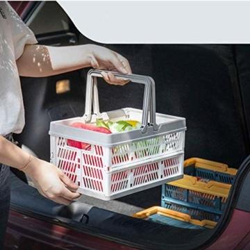 Yiyu Picknickkörbe Einkaufskörbe Obstkorb Aufbewahrungskorb Aus Kunststoff, Tragbarer Klappkorb, Einkaufskorb, Gemüsekorb, Klappbarer Einkaufskorb Camping Outdoor z (Color : Gray) - 3