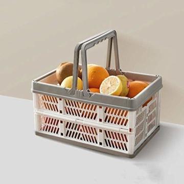 Yiyu Picknickkörbe Einkaufskörbe Obstkorb Aufbewahrungskorb Aus Kunststoff, Tragbarer Klappkorb, Einkaufskorb, Gemüsekorb, Klappbarer Einkaufskorb Camping Outdoor z (Color : Gray) - 4