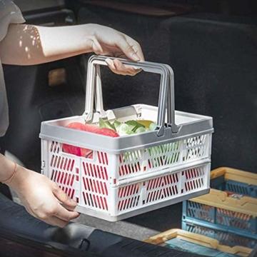 Yiyu Picknickkörbe Einkaufskörbe Obstkorb Aufbewahrungskorb Aus Kunststoff, Tragbarer Klappkorb, Einkaufskorb, Gemüsekorb, Klappbarer Einkaufskorb Camping Outdoor z (Color : Gray) - 6