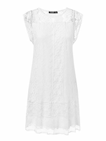 YOINS Sommerkleid Damen Kurze Elegant Strandkleid Schulterfrei Blumenmuster Sexy Kleid Ärmellos Minikleider A-weiß S - 2
