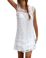 YOINS Sommerkleid Damen Kurze Elegant Strandkleid Schulterfrei Blumenmuster Sexy Kleid Ärmellos Minikleider A-weiß S - 1