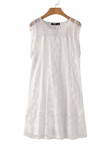 YOINS Sommerkleid Damen Kurze Elegant Strandkleid Schulterfrei Blumenmuster Sexy Kleid Ärmellos Minikleider A-weiß S - 3