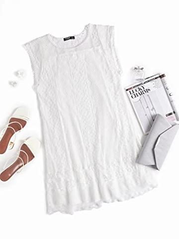 YOINS Sommerkleid Damen Kurze Elegant Strandkleid Schulterfrei Blumenmuster Sexy Kleid Ärmellos Minikleider A-weiß S - 4