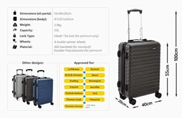 Amazon Basics - Hartschalen-Trolley mit Schwenkrollen - 55cm Handgepäck-Größe, für Ryanair und die meisten anderen Billigfluglinien genehmigt - 2