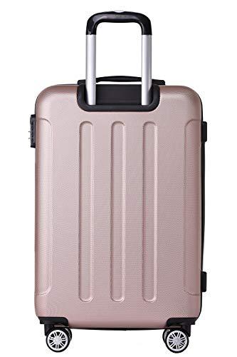 BEIBYE Hartschalen-Koffer Trolley Rollkoffer Reisekoffer Handgepäck 4 Rollen (M-L-XL-Set) (Rosa Gold, M) - 2
