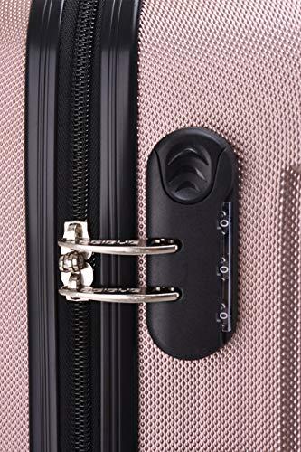 BEIBYE Hartschalen-Koffer Trolley Rollkoffer Reisekoffer Handgepäck 4 Rollen (M-L-XL-Set) (Rosa Gold, M) - 3